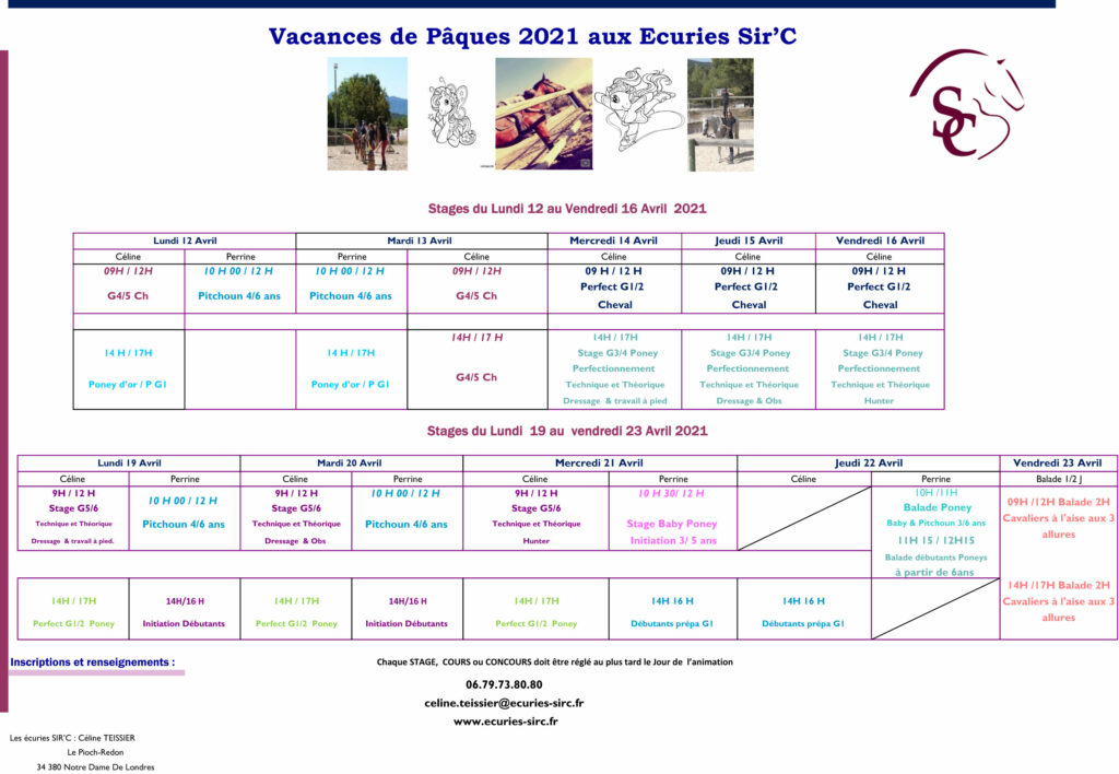 planning Stages Vacances d'avril 2021